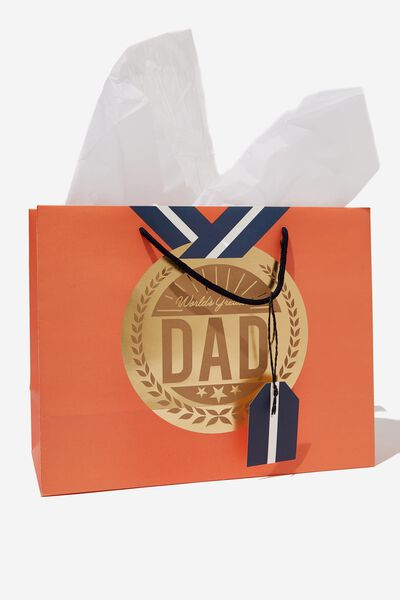 Medium Gift Bag with Tissue Paper, MEDAL ORANGE