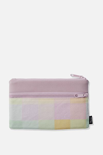 Archer Pencil Case, RAINBOW CHECK