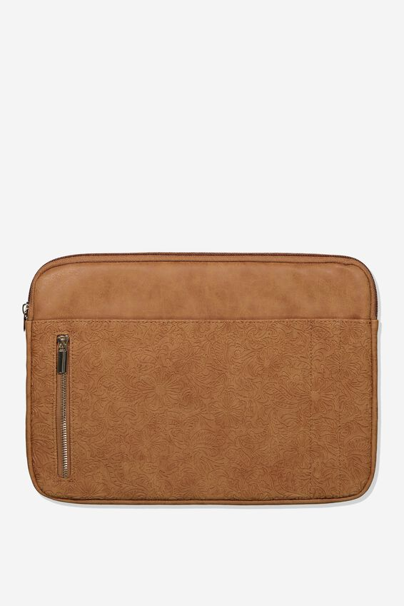 Take Charge Laptop Cover 13 inch, MID TAN FLORAL TOOLED