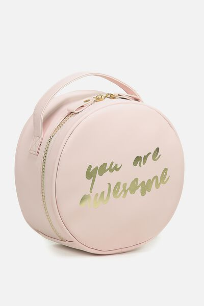 Round Cosmetic Case, BLUSH AWESOME