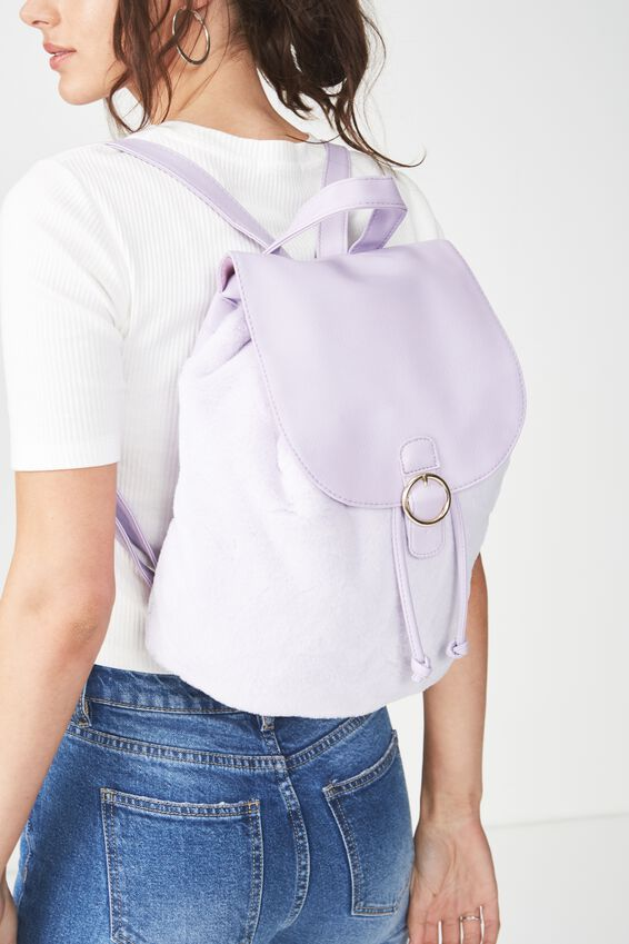 Pacific Backpack, LILAC FAUX FUR