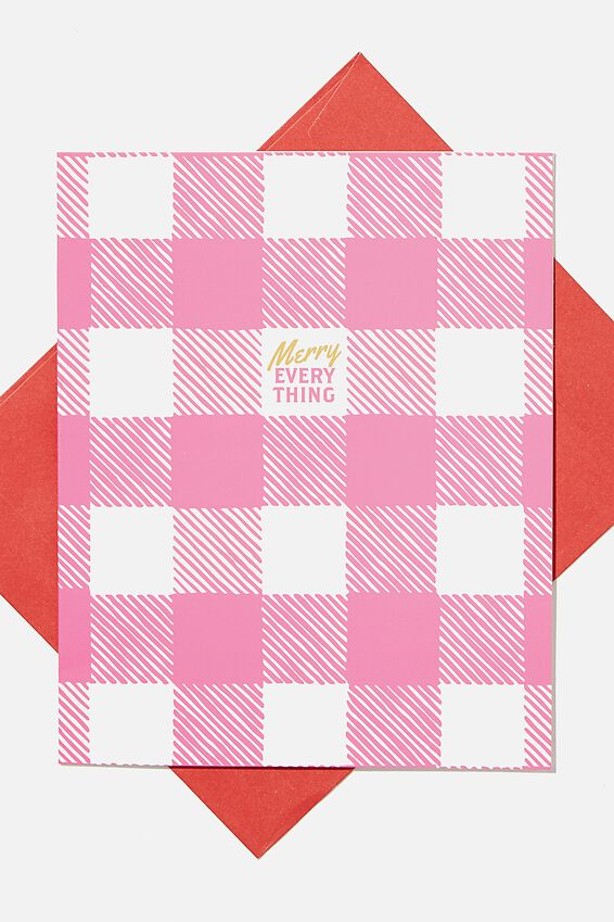 Christmas Card 2020, MERRY EVERYTHING PINK GINGHAM