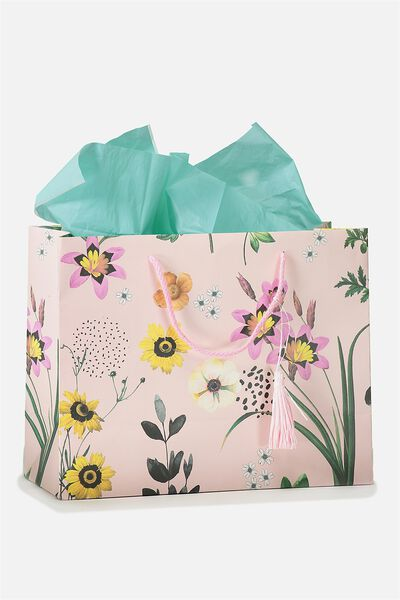 Wrapping paper ribbon cotton on stuff it gift bag medium with tissue paper floral tassle negle Choice Image
