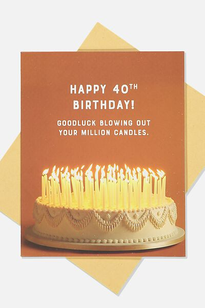 Age Card, 40 GOOD LUCK CANDLES