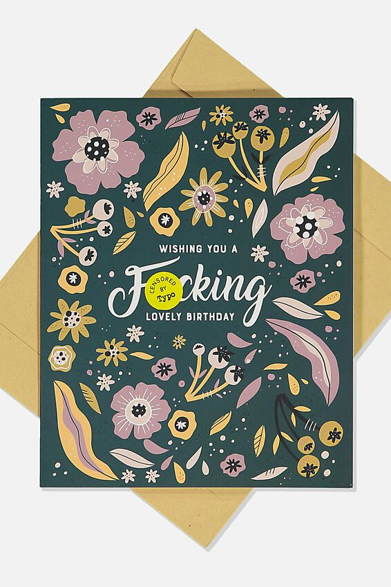 Funny Birthday Card, F CKING LOVELY BIRTHDAY FLORAL