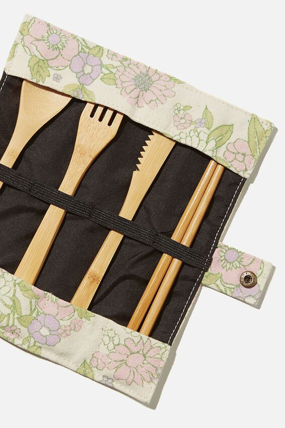 Cut My Lunch Cutlery Roll, MINT PINK MOLLY FLORAL
