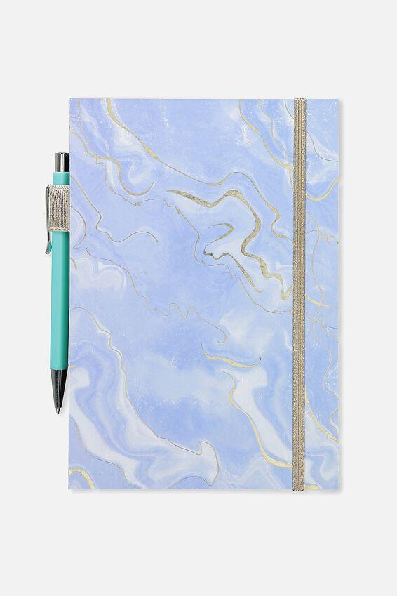 A5 Open Seam Notebook, CORNFLOWER AGATE
