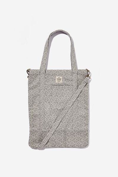 Book Tote Bag, STAMPED DAISY GREYSCALE