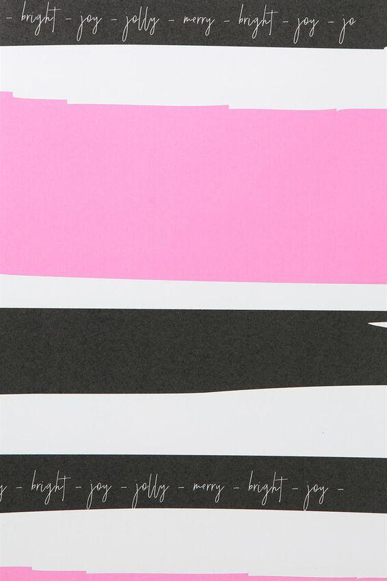Flat Wrapping Paper, PINK & BLACK STRIPE