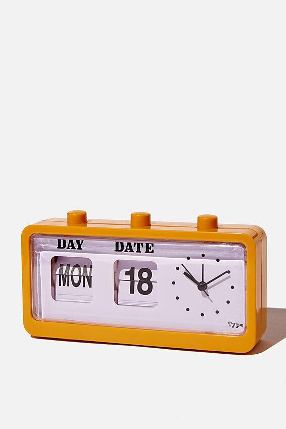 Retro Flip Clock, MUSTARD