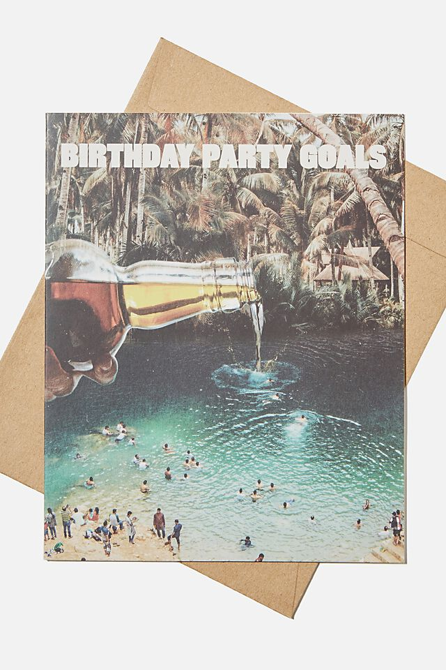 Funny Birthday Card, BIRTHDAY PARTY GOALS BEER!