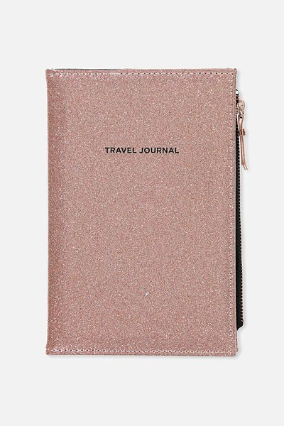 Travel Zip Journal, ROSE GOLD GLITTER