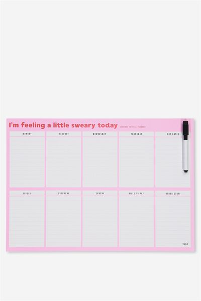 A3 Magnetic Planner, PINK RED SWEARY