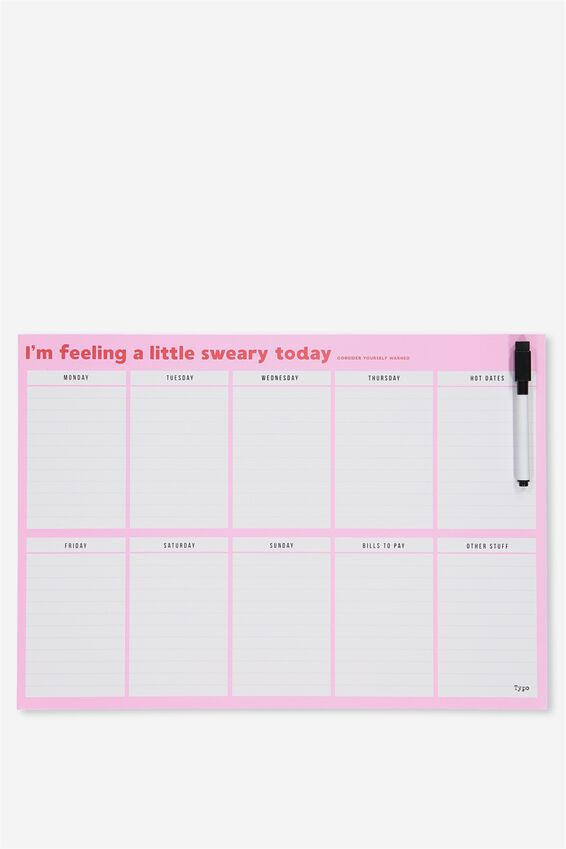 A3 Extra Large Magnetic Planner, PINK RED SWEARY
