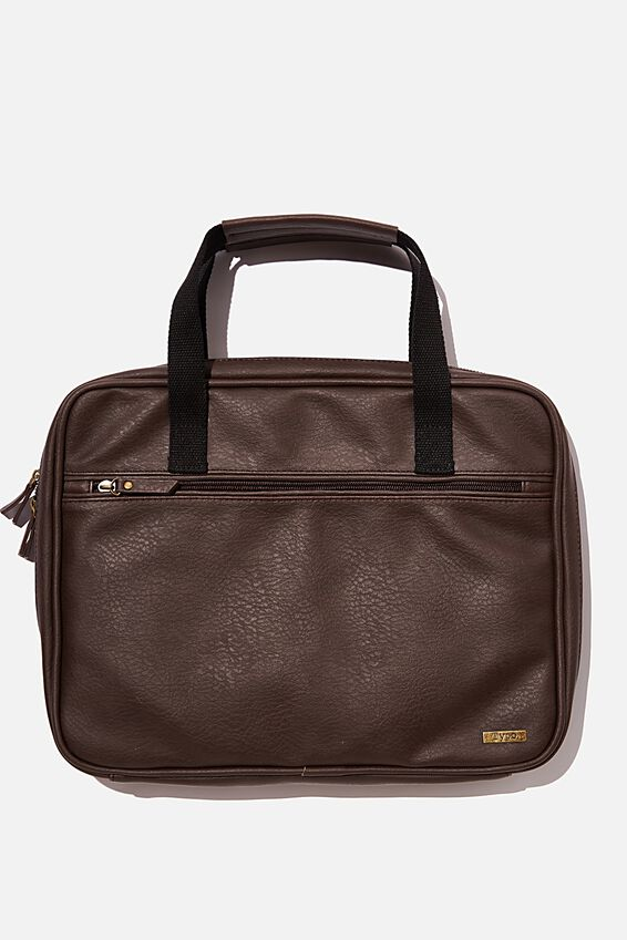 Commuter 13 Inch Laptop Folio Pu, BITTER CHOC