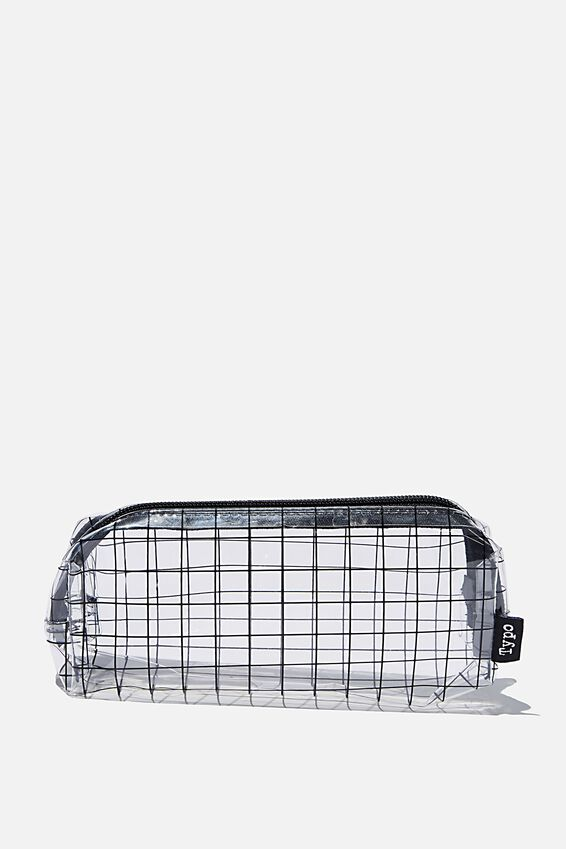 Bailey Pencil Case, PLAIN GRID CLEAR