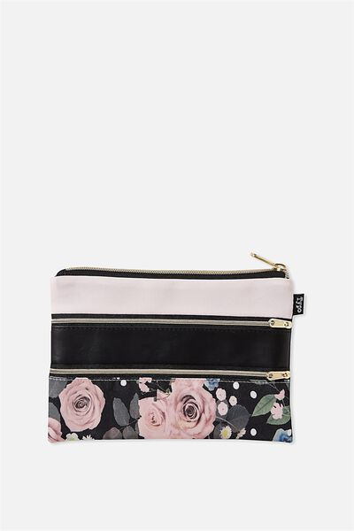 Double Archer Pencil Case, BLACK POLKA FLORAL