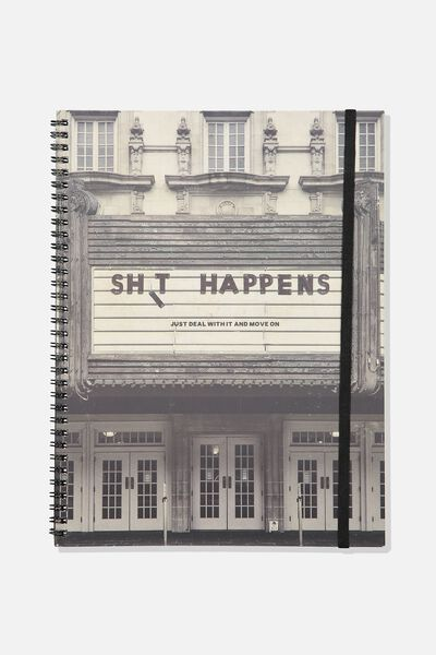 A4 Spinout Notebook - 120 Pages, SHIT HAPPENS CINEMA!