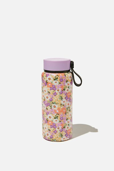 On The Move Metal Drink Bottle 350Ml, PASTEL 70S DITSY