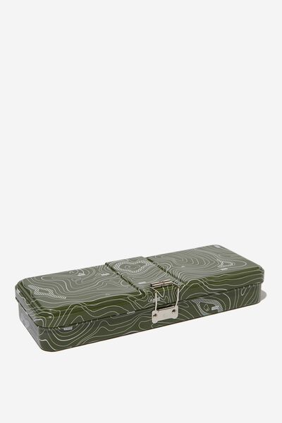 Tin Pencil Case, LINEAR MAP GREEN TIN