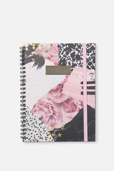A5 Spinout Notebook - 120 Pages, FLORAL COLLAGE
