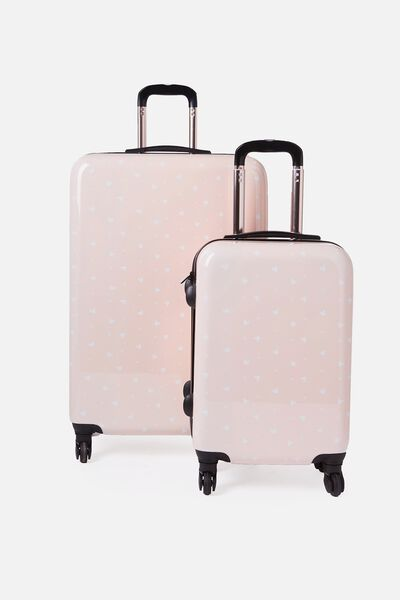 License Suitcase Set, LCN BLUSH MICKEY DITSY PRINT