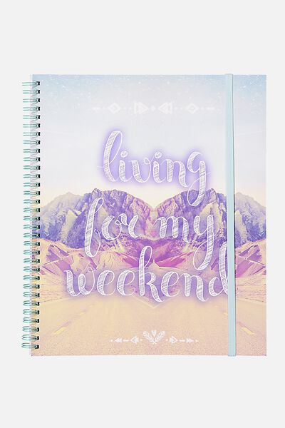 College Ruled Spinout Notebook V, LIVING FOR THE WEEKEND