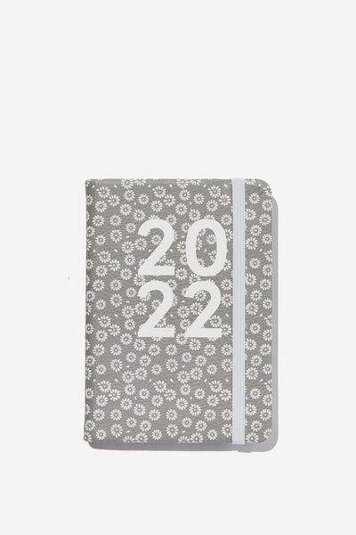 2022 A6 Weekly Buffalo Diary, STAMPED DAISY GREYSCALE