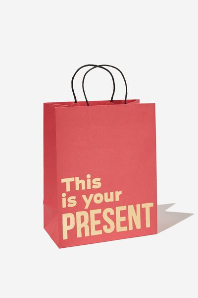 Get Stuffed Gift Bag - Medium, THIS IS YOUR PRESENT RED GOLD