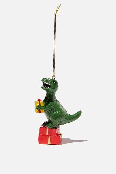 Resin Christmas Ornament, T-REX ON PRESENTS