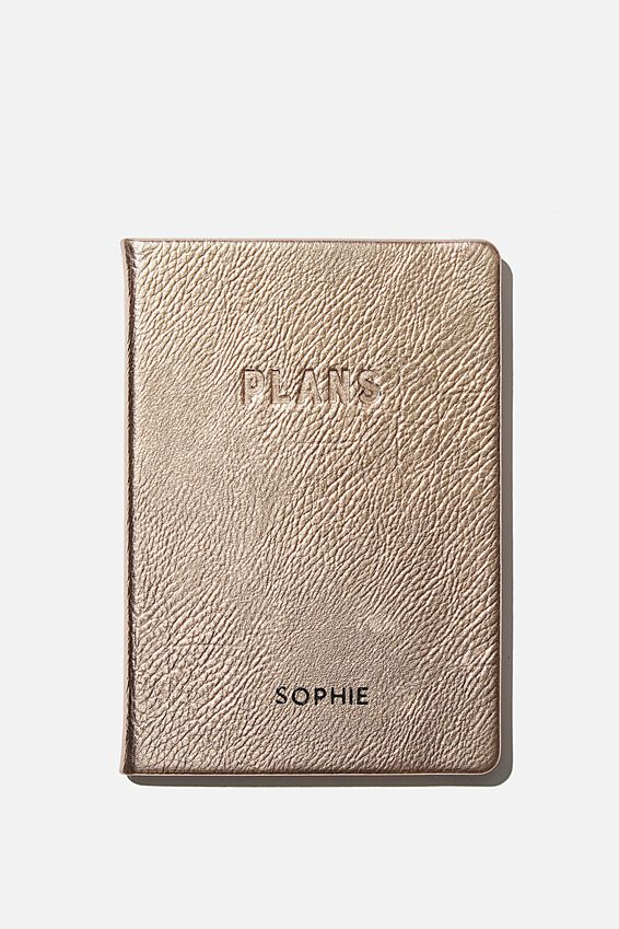 Personalised A5 Undated Weekly Buffalo Diary, ROSE GOLD