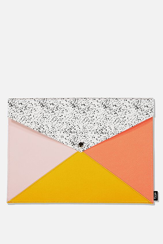 Pu Document Wallet, PINK & YELLOW SPLICE