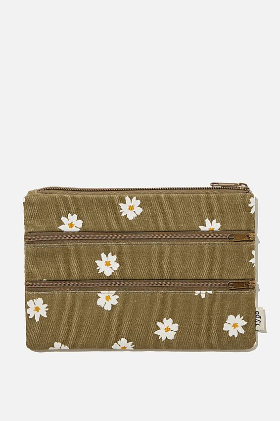 Double Archer Pencil Case, DAISY KHAKI
