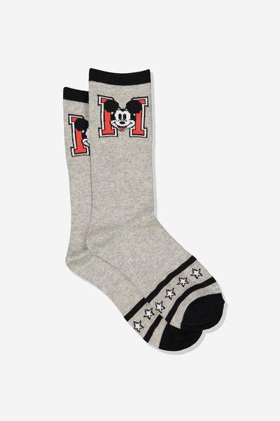 Womens Novelty Socks, LCN MICKEY STRIPE