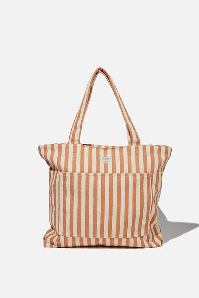 The Daily Tote Bag, PEACH SUMMER STRIPE