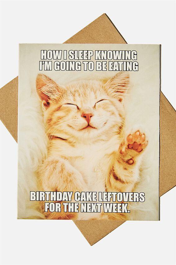 Nice Birthday Card, CAKE LEFTOVERS CAT MEME