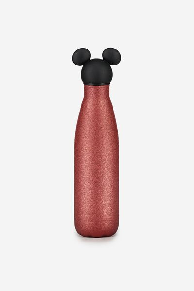 Premium Metal Drink Bottle, LCN MICKEY RED GLITTER