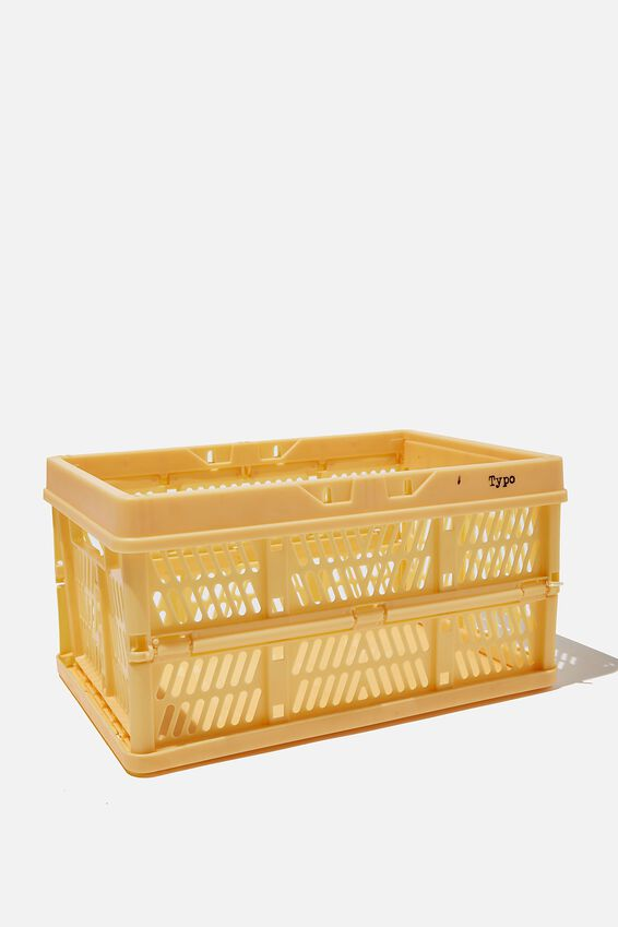 Small Foldable Storage Crate, WASHED MUSTARD