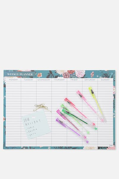 A3 Plan Ahead Planner, GREEN FLORAL