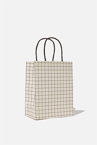 Get Stuffed Gift Bag - Small, WHITE BLACK GRID