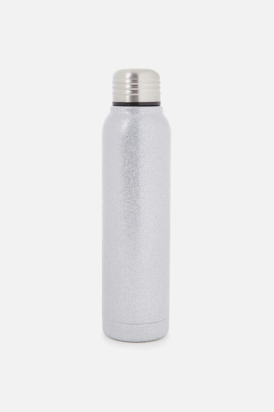 Small Metal Drink Bottle, SILVER GLITTER