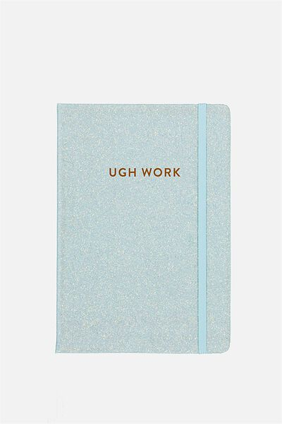 Personalized Medium A5 Buffalo Journal, LIGHT BLUE GLITTER