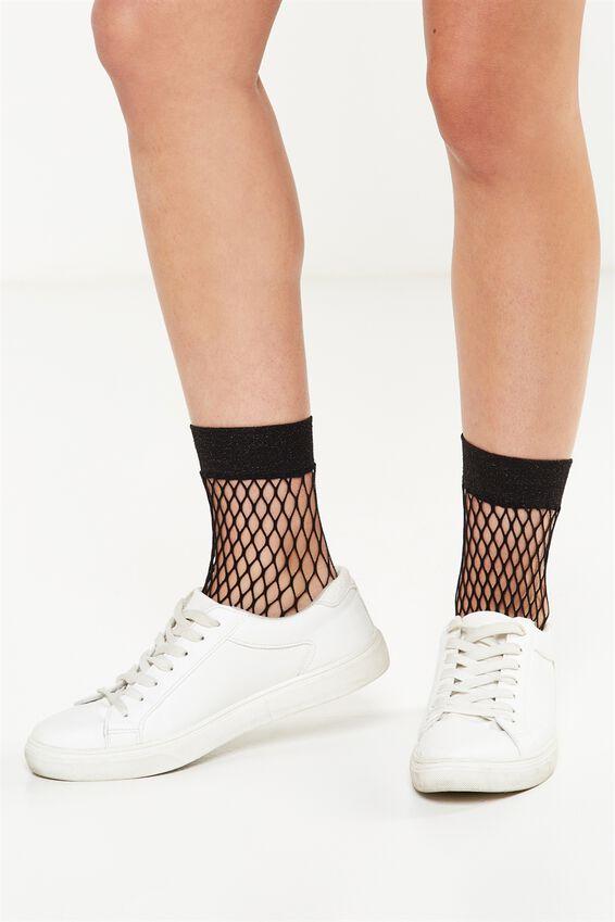 Womens Novelty Ankle Socks, BLACK FISHNET