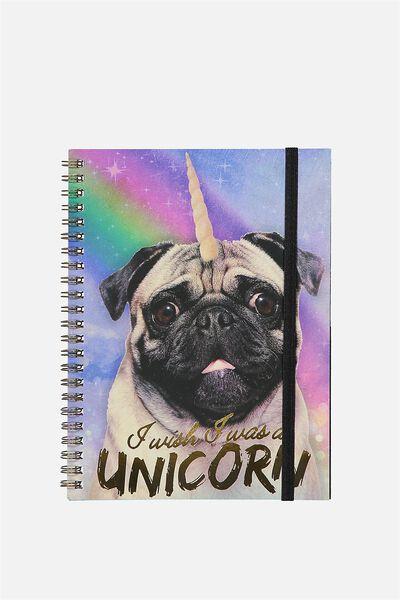 Small Spinout Notebook Usa 8X6, UNICORN PUG