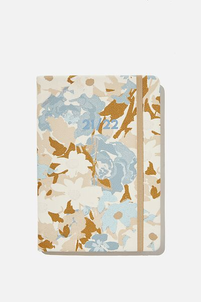2021 22 A5 Weekly Buffalo Diary, BLUE DAPHNE FLORAL
