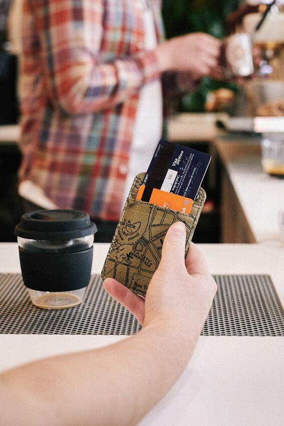 Printed Card Holder, KHAKI MAP