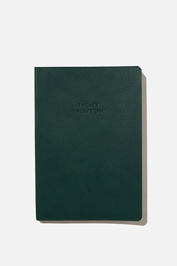 2021 Soft A5 Weekly Buffalo Diary, DEEP GREEN