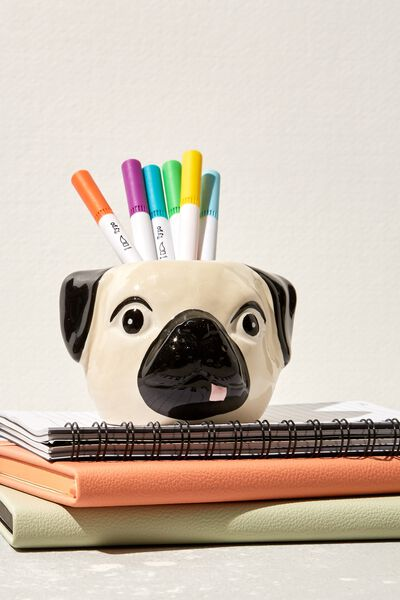 Pen Holder, PUG HEAD BLACK AND WHITE