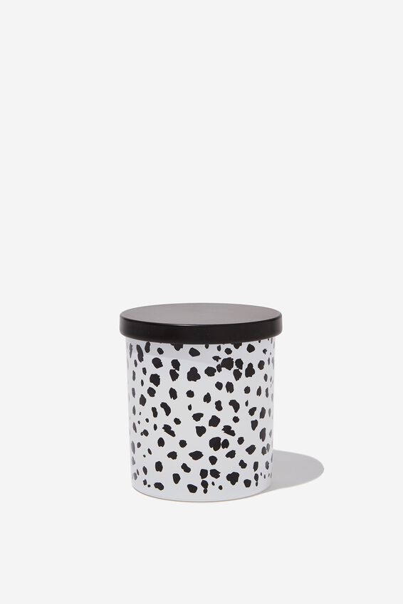 Rose Vanilla Premium Candle, BLACK & WHITE POLKA