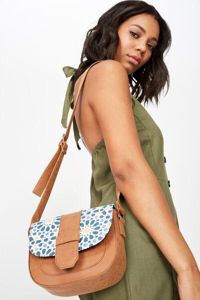 Saddle Bag, MOROCCAN TILE PRINT